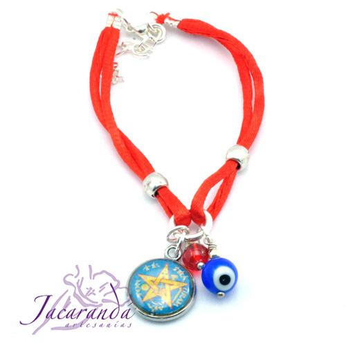 Pulsera doble de seda rojo medalla Tetragrammaton azúl con ojito Protector y Rojo Mágico