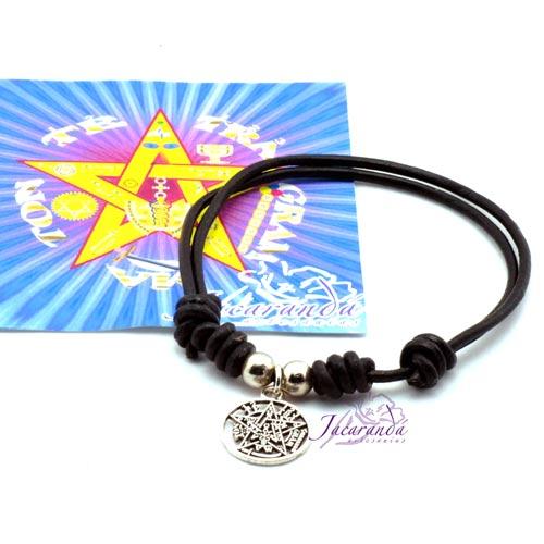 1190 10 Pulsera cordon de cuero color Negro con colgante Tetragrammatron 1
