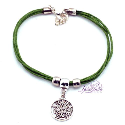 Pulsera cordon multihilo color Verde con medalla Tetragrammatron