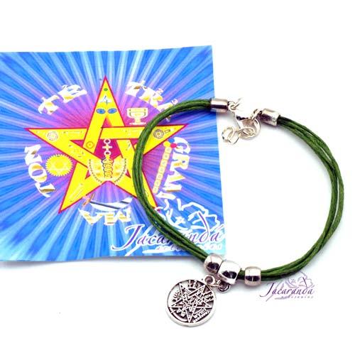 1190 11 Pulsera cordon multihilo color Verde con colgante Tetragrammatron 2