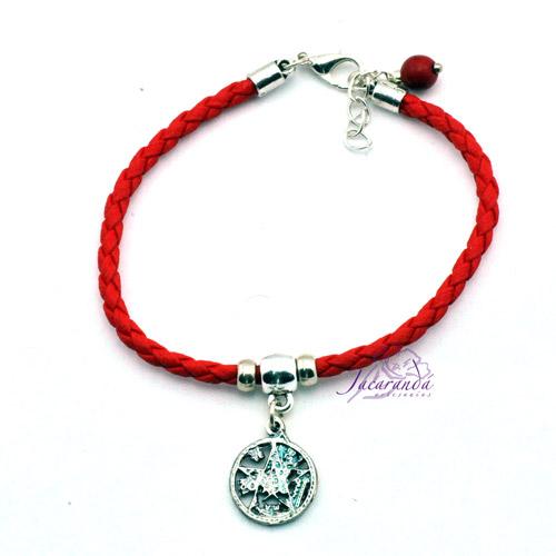 Pulsera cordon de cuero trenzado color Rojo con medalla Tetragrammatron