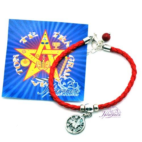 1190 12 Pulsera cordon de cuero trenzado color Rojo con colgante Tetragrammatron 2