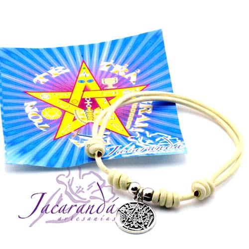 Pulsera cordón de cuero color natura con medalla Tetragrammaton