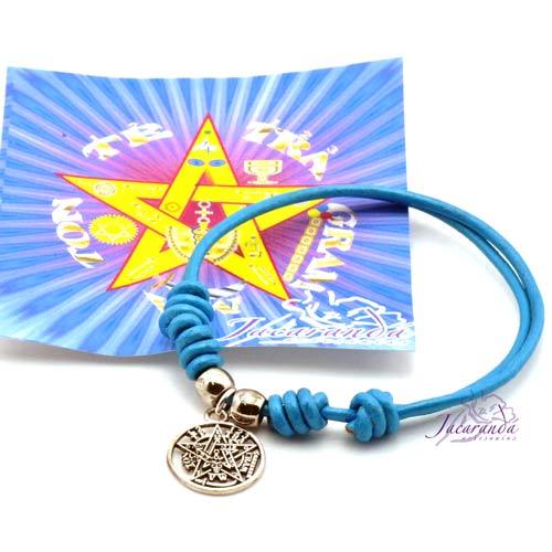 Pulsera de cuero Turquesa con medalla de Tetragrammatron