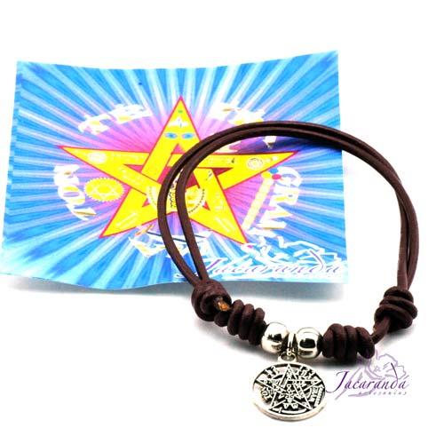 Pulsera cordón de cuero color Marrón con medalla Tetragrammatron