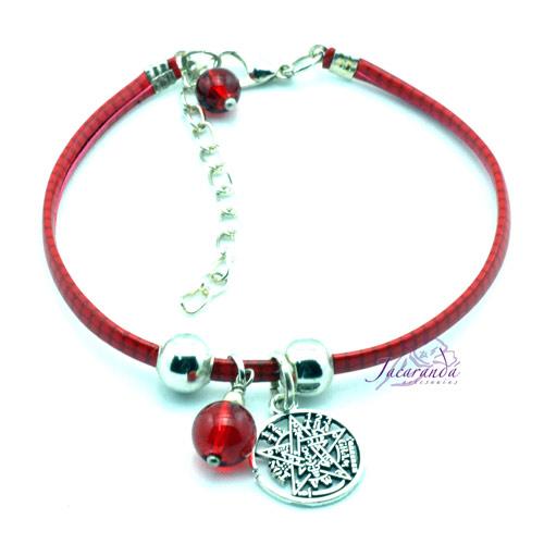 Pulsera de cuero rojo plano con medalla de Tetragrammatron