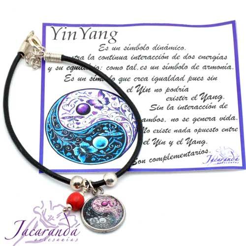 1197 Pulsera cordon piel medalla Yin Yang 2