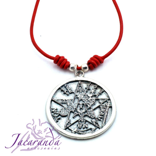 Colgante Tetragrammatón con cordón de piel rojo