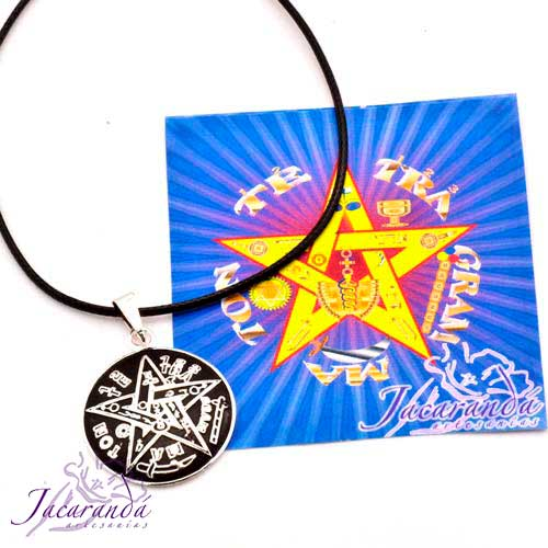 1314 Colgante de Tetragrammaton de Alpaca enchapado en plata con cordon 25 mm 1