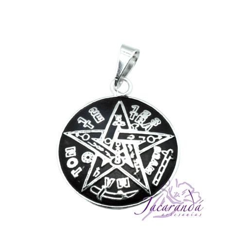 1314 Colgante de Tetragrammaton de Alpaca enchapado en plata con cordon 25 mm 2