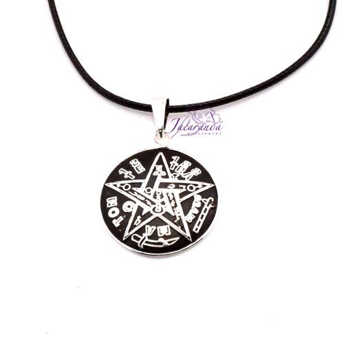 1314 Colgante de Tetragrammaton de Alpaca enchapado en plata con cordon 25 mm 3