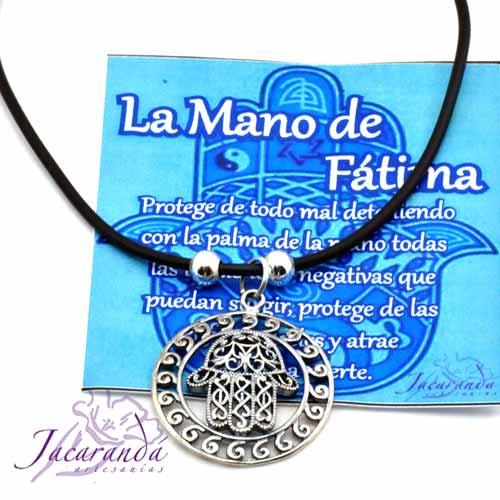 1324 Colgante Signo Mano de Fatima con bordes espiral 2