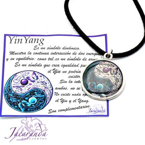 1326 Colgante Yin Yang doble cara esmalte cristal 1