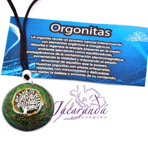 Colgante orgonita árbol de la vida color verde