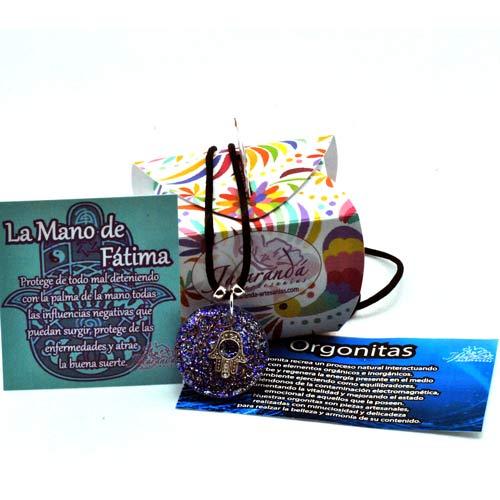 1403 Colgante orgonita mano de Fátima azúl 2