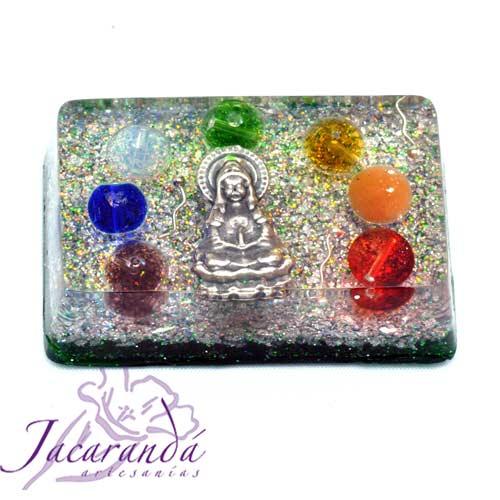 Orgonita Domo Buda piedras 7 Chakras verde