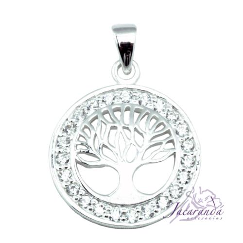 Colgante de plata Árbol de la vida con circones