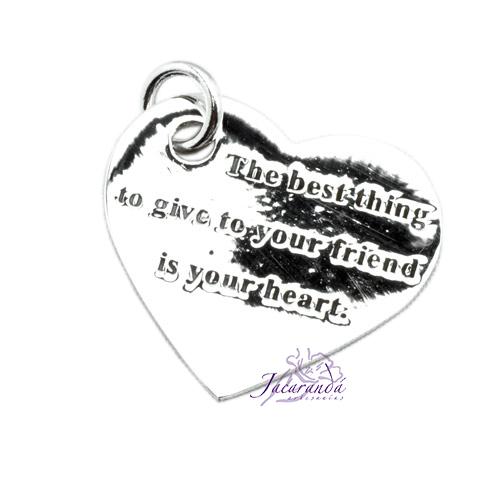 Colgante de Plata Forma de Corazón verdaderas Amigas Lo mejor que puedes darle a tu amigo es tu corazón
