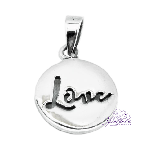 Colgante de Plata medalla Love 15 mm