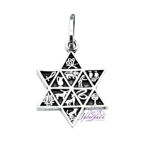 Colgante de Plata Estrella 12 Amuletos