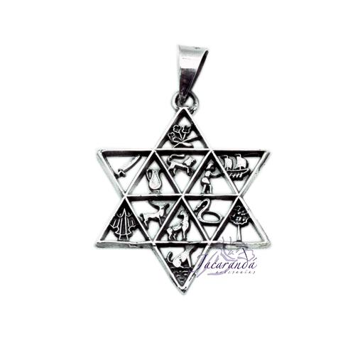 Colgante de Plata Estrella Amuletos Calado 12 signos