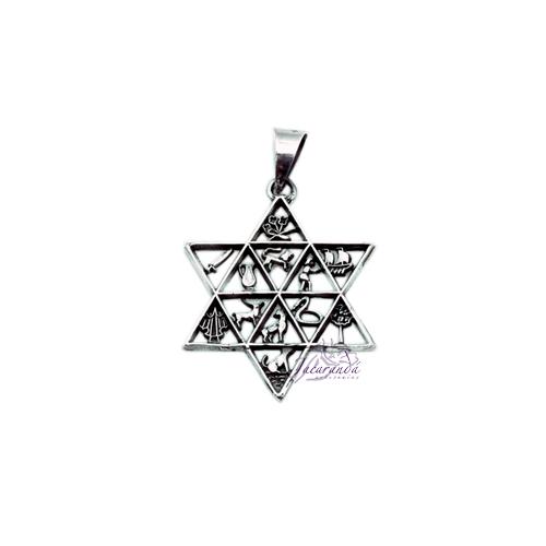 Colgante de Plata Estrella Amuletos Calado chico 12 signos