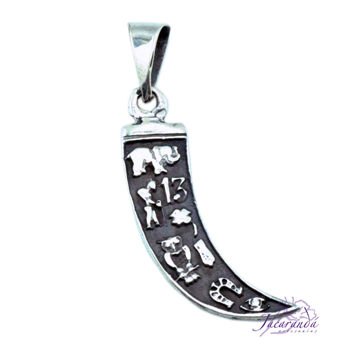 Colgante de Plata Amuleto de la Colmillo Fortuna