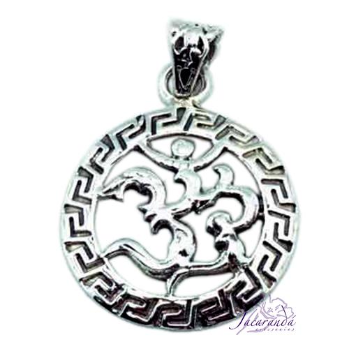 Colgante de Plata Amuleto del OM con Grecas