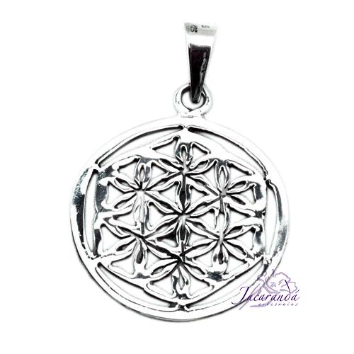 Colgante de Plata con diseño de Mandala y Flor de la vida