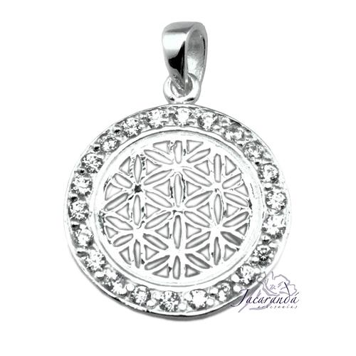 Colgante de plata 925 Flor de la vida con circones blancos