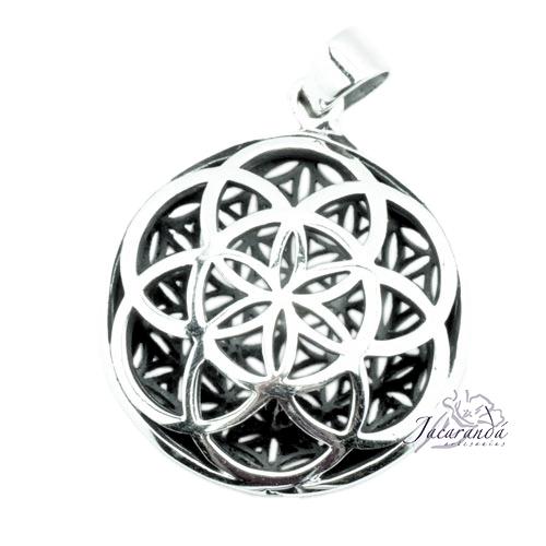 Colgante de Plata Mandala reverso flor de la vida