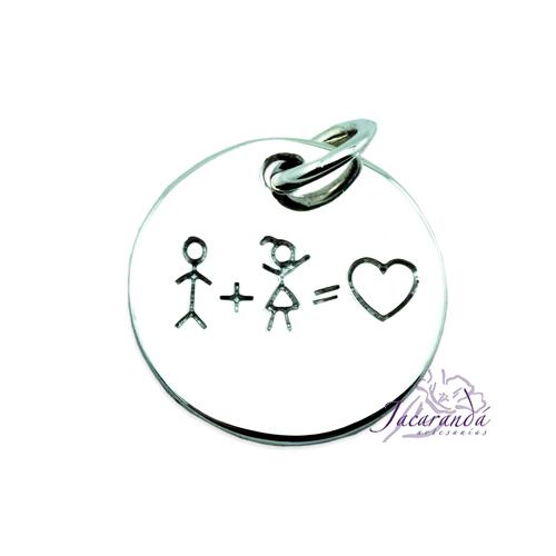 Colgante de plata pareja amor