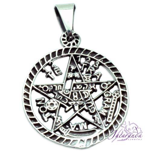 Colgante de Plata 925 Tetragramaton calado bordes