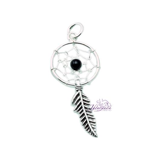 Colgante de Plata 925 Amuleto de Atrapasueño Negro