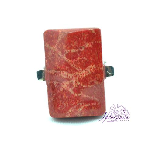 Anillo de Plata 925 Rectángulo coral esponja
