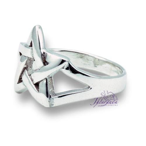 Anillo de plata liso Signo Estrella de 5 puntas 16 mm