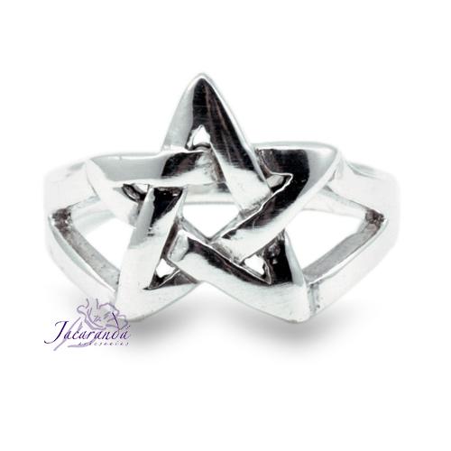 Anillo de plata liso Signo Estrella de 5 puntas 18 mm