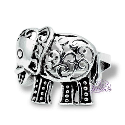 Anillo de Plata 925 Elefantes de la Fortuna
