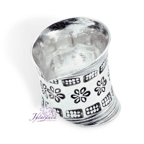 Anillo de Plata 925 Labrado ancho Ajustable Margaritas