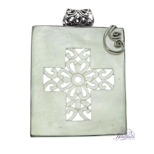 Colgante de plata 925 calado a mano diseño cruz 52 x 42 mm