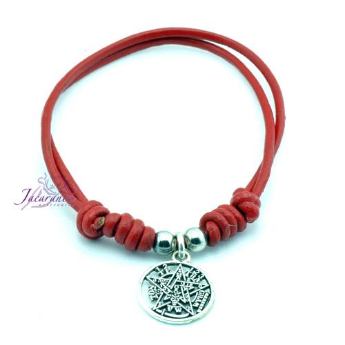 Pulsera de cuero rojo con colgante Tetragrammatron