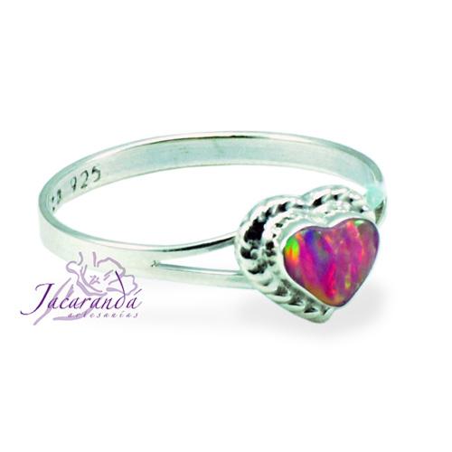Anillo de plata 925 ópalo Rosa diseño corazón 17 mm