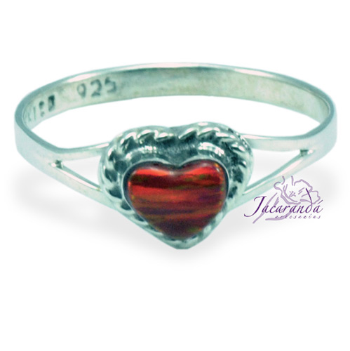 Anillo de plata 925 ópalo Rojo diseño corazón 13 mm