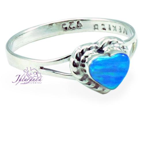 Anillo de plata 925 opalo azul diseño corazon 7 mm