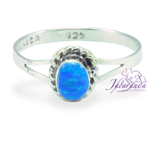 Anillo de plata 925 ópalo Azul diseño Ovalo 11 mm