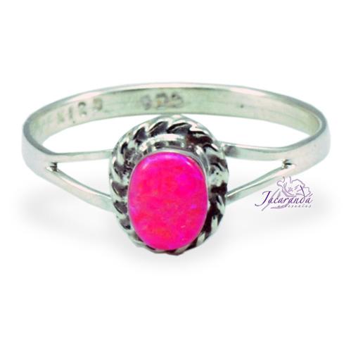 Anillo de plata 925 ópalo Rosa diseño Ovalo 13 mm