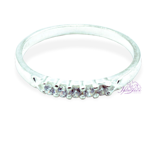 Anillo de plata 925 con circón color cristal de roca diseño Alianza 20 mm
