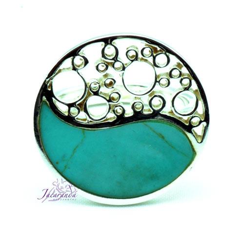 Anillo de plata 925 circulo yin yang Turquesa