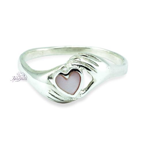 Anillo de plata 925 corazón manos Con Nacar-Rosa