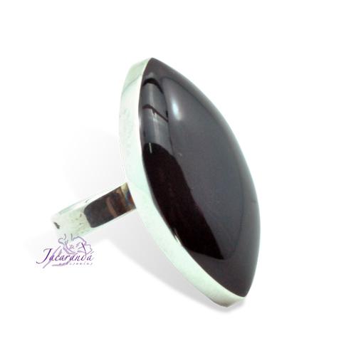 Anillo de plata 925 hoja onix 18 mm (ajustable)